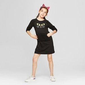 Black Cat Girl's Tunic Dress Kangaroo Pouch 10/12